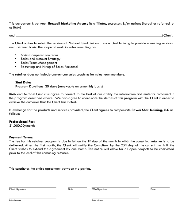 Sample Marketing Consulting Agreement 5 Documents in PDF – Retainer Agreement Template