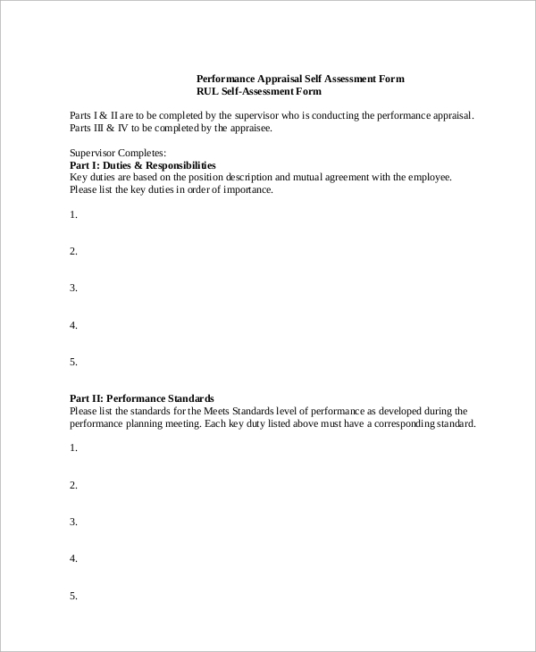 self assessment performance evaluation