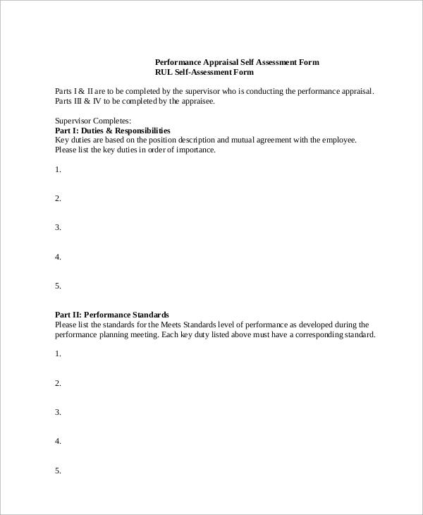 Self Performance Evaluation Sample 5 Documents in PDF – Self Performance Evaluation