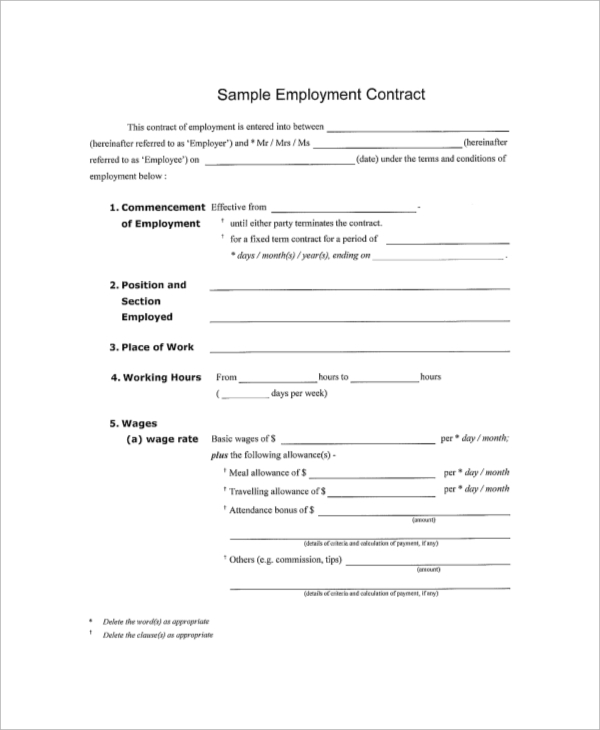 Sample Contract   Examples In Pdf