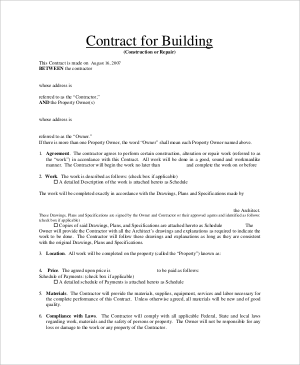 Sample Contract 23 Examples In Pdf