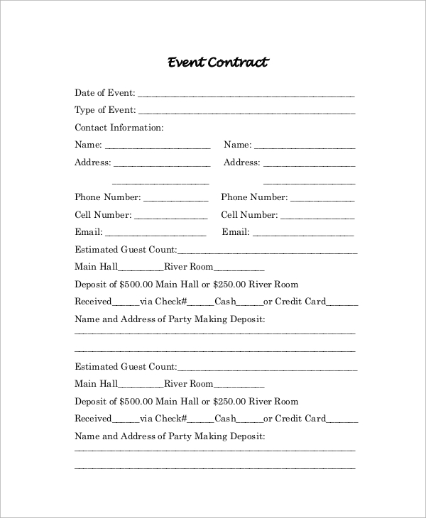 Sample Contract 19 Examples in PDF – Sample Event Contract