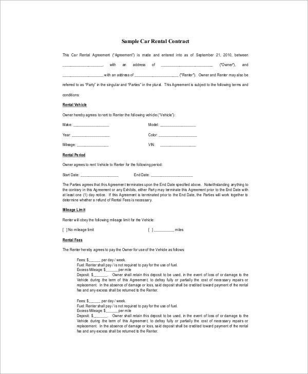 Sample contract 23 examples in pdf platinumwayz