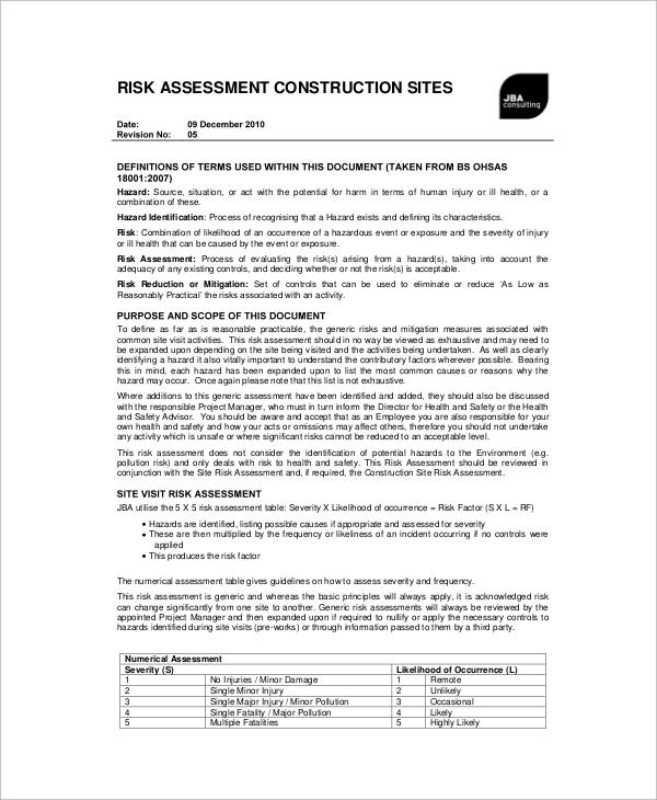 sample construction risk assessment