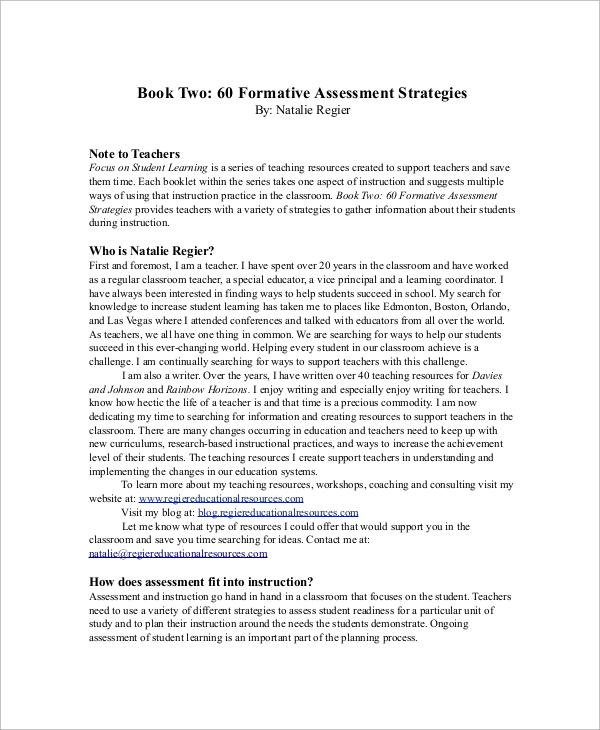 sample formative assessment