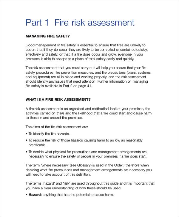 sample fire risk assessment