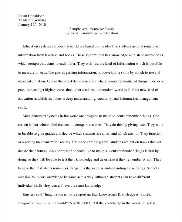 Format Of An Argumentative Essay