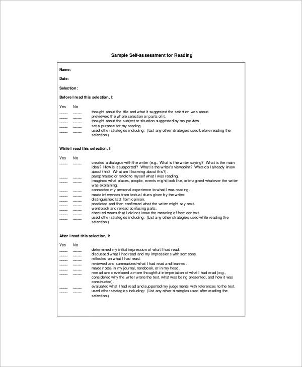 sample reading self assessment