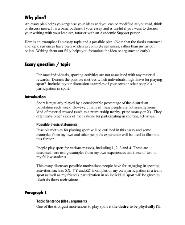 Sample Essay   Documents In Pdf Essay Plan Sample