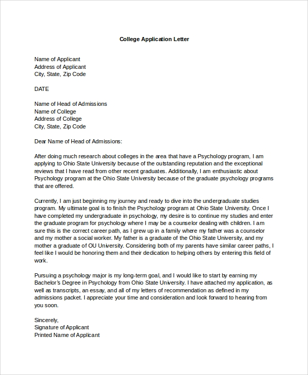 College Admission Cancellation Letter