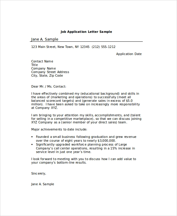 Job Application Letter Sample Pdf