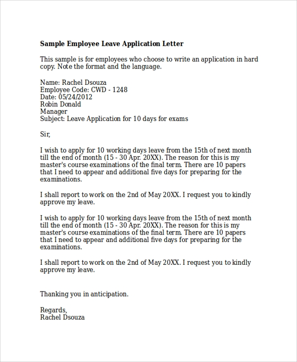 Sample Application Letter 20 Examples in PDF Word – Sample Leave Request