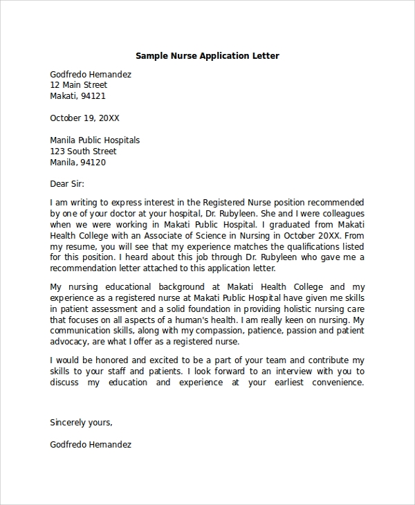 Sample-Nurse-Application-Letter Sample Application Letter For Nusring Aid on