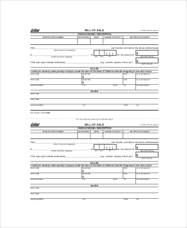 DMV Bill Of Sales Form