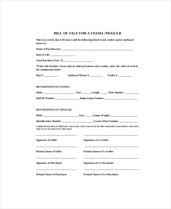 Sample Bill Of Sale   Examples In Pdf