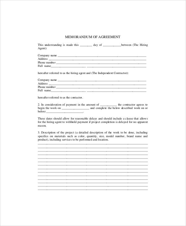 sample memorandum of agreement