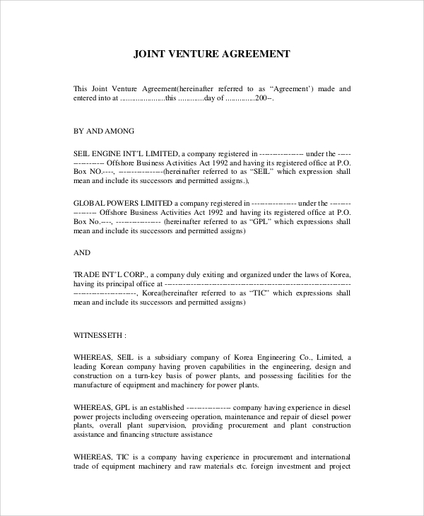 Sample Agreement 20 Examples in PDF – Sample Joint Venture Agreement