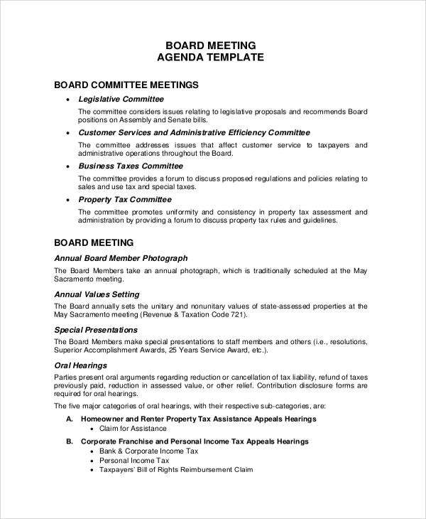 Sample Meeting Agenda 20 Examples in PDF Word – Agenda Examples for Meetings