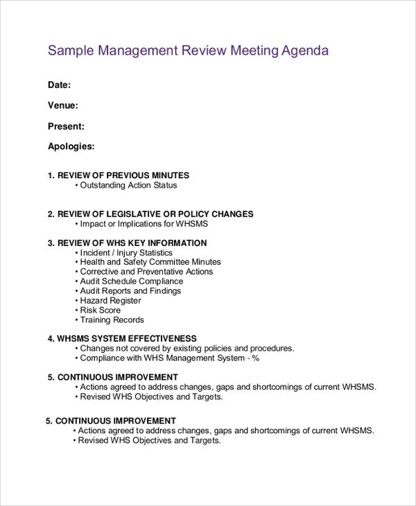 Sample Meeting Agenda 20 Examples in PDF Word – Sample Management