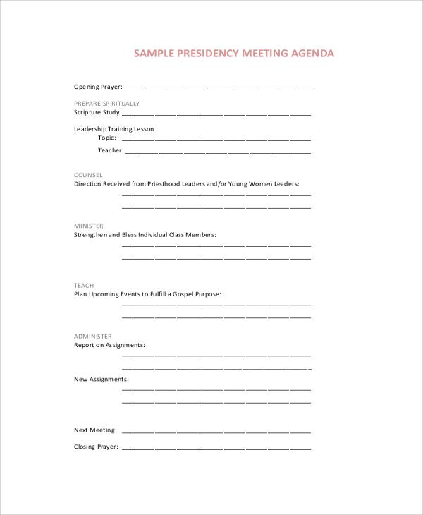 sample presidency meeting agenda