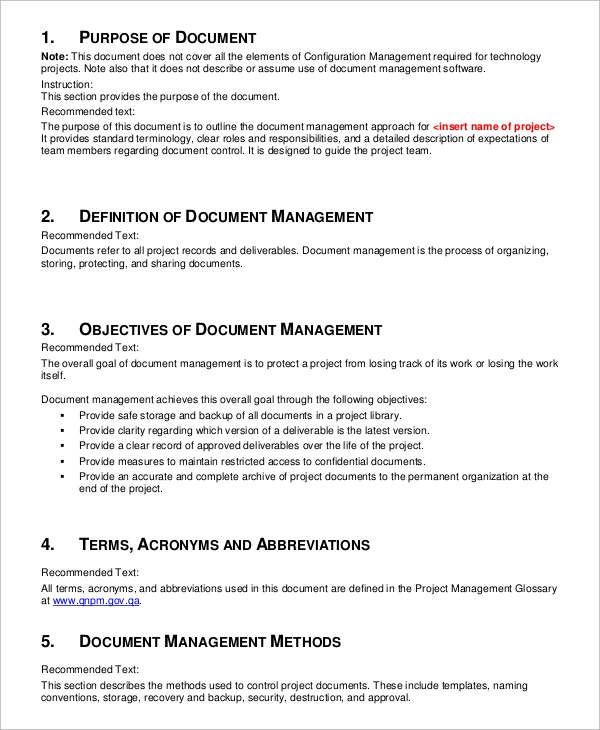 sample document management plan