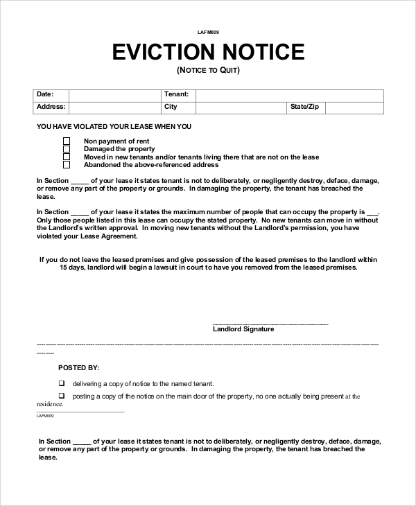 sample eviction notice 9 examples in word pdf