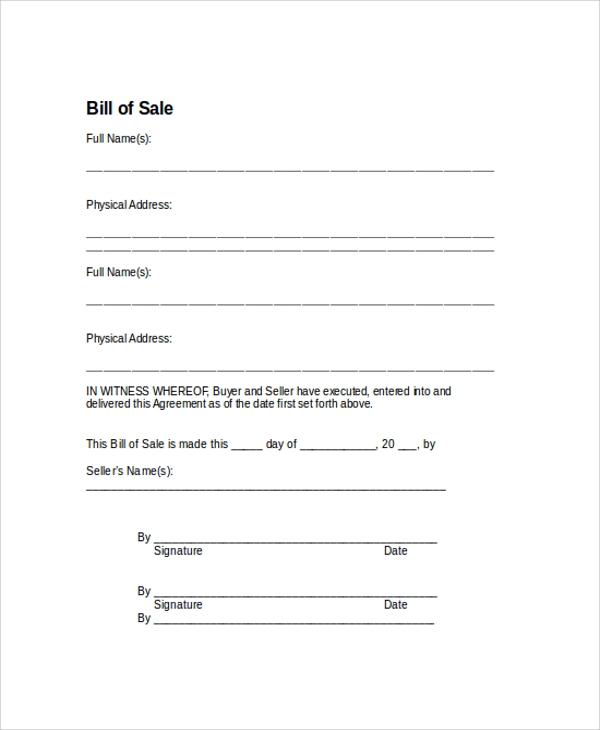 sample bill of sale blank automobile bill of sale example