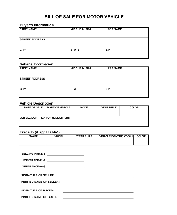 Sample Bill Of Sale Form   Examples In Pdf Word