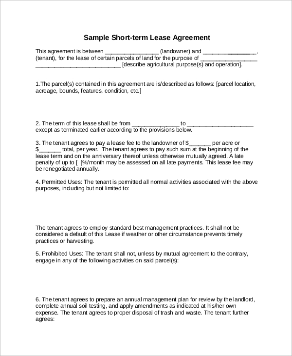 short term lease agreement
