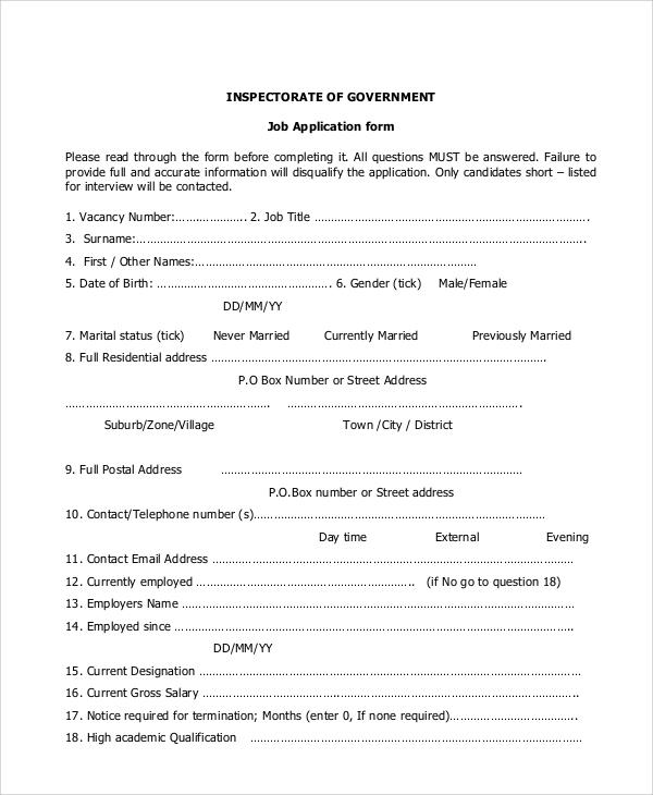 Government-Job-Application-Form Job Application Form Format Word on job biodata format, job resume format in word, job application template microsoft word,