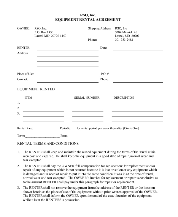 Sample Rental Agreement   Examples In Pdf