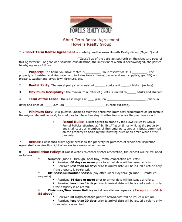 Sample Rental Agreement 8 Examples in PDF – Sample Short Term Rental Agreement
