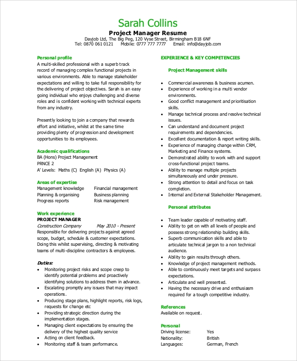 sample project manager resume