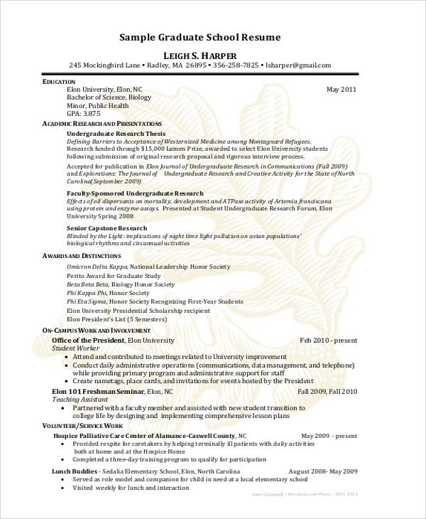 graduate school resume sample
