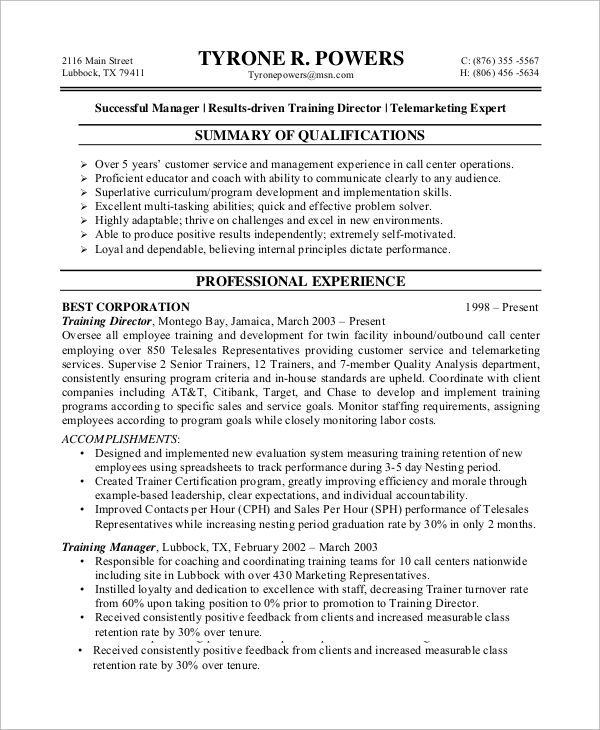 Sample Customer Service Resume - 8+ Examples in Word, PDF