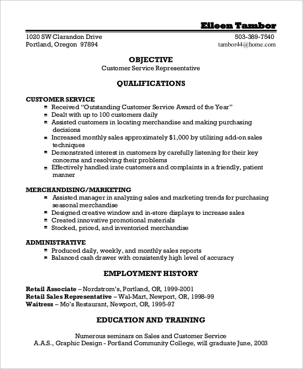 Job Resume Templates Examples: 8+ Customer Service Resume Samples