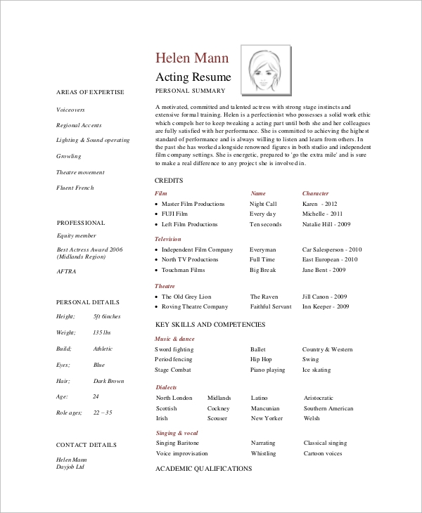 professional actors resume