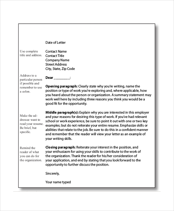 Sample Cover Letter Format 9 Examples In PDF Word