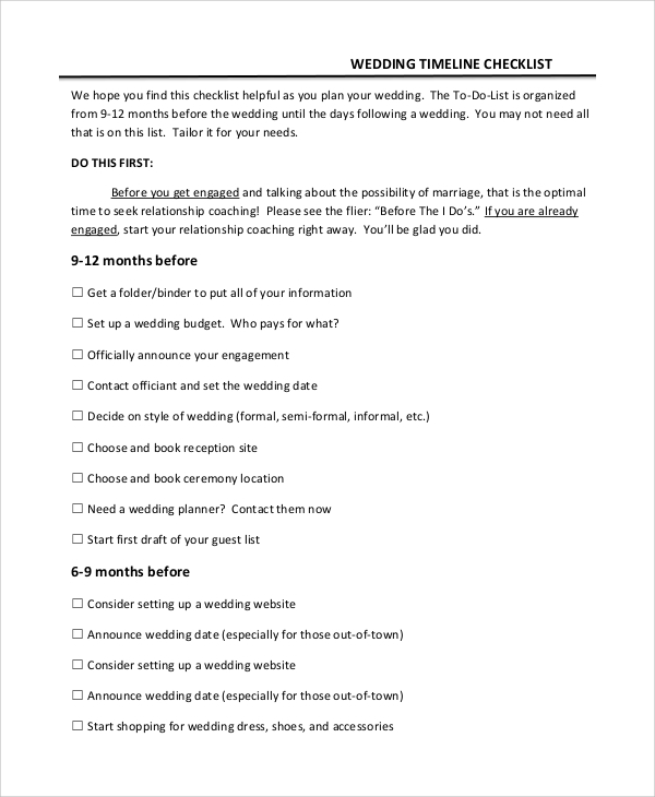 Sample Wedding Planning Checklist   Examples In Pdf Excel