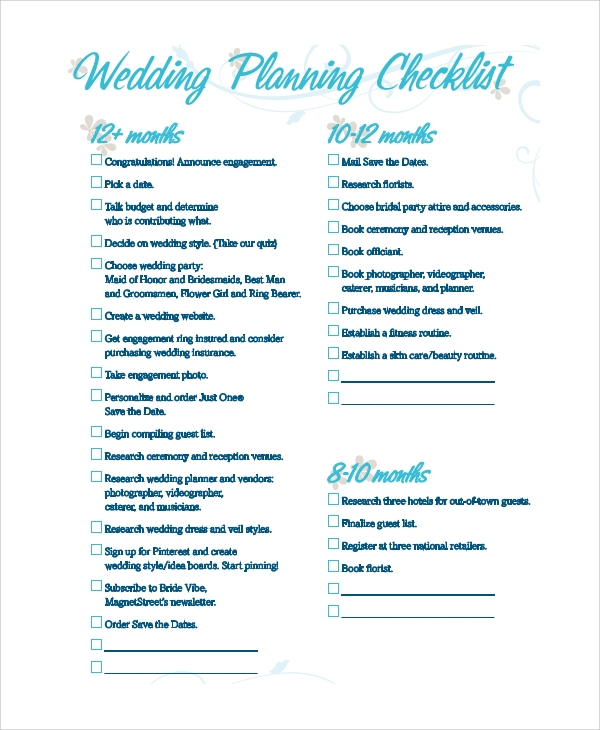 sample wedding planning checklist 7 examples in pdf excel