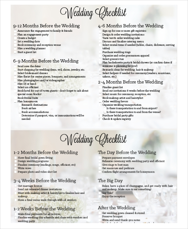 Sample Wedding Planning Checklist - 7+ Examples In Pdf, Excel