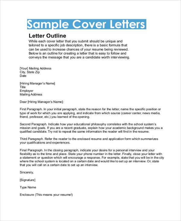 sample cover letter outline - Cover Letter Outline