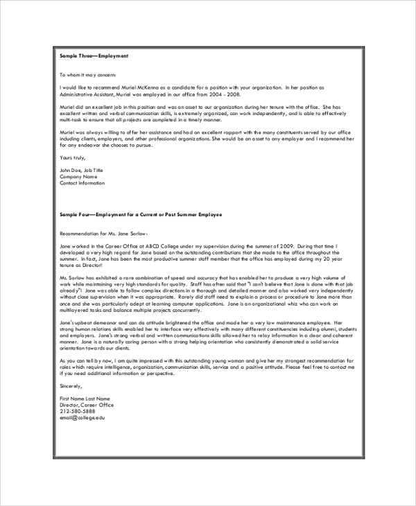 Reference Letter From Current Employer from images.sampletemplates.com