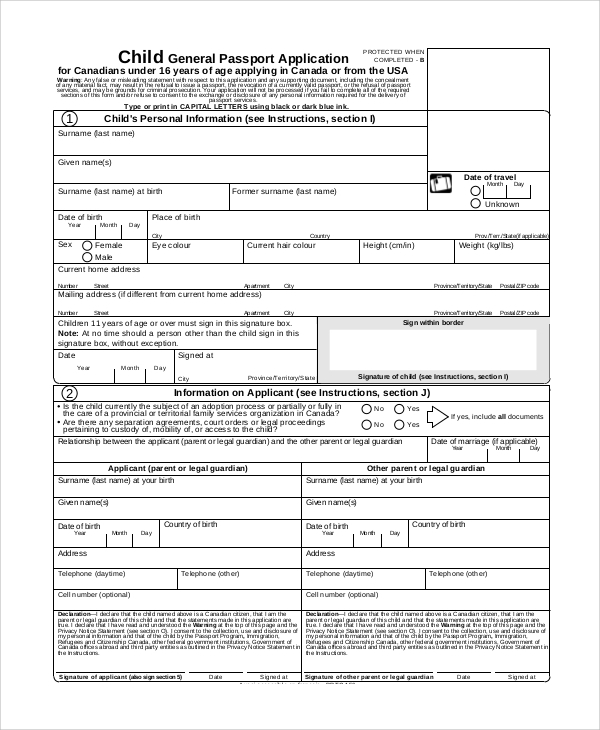 sample passport application form filled 7  Sample Passport Renewal Forms | Sample Templates