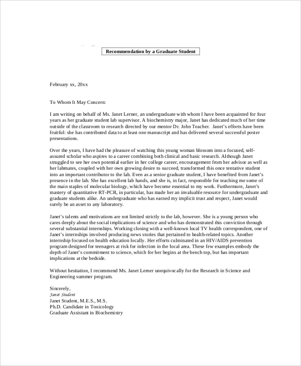 How To Write Reference Letter For Graduate Student   Cover Letter     Reference Letter of Recommendation Sample   examples of letters of recommendation