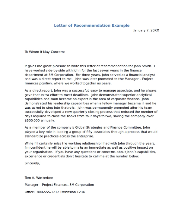 Example Of Letter Of Recommendation Reference Letter Of