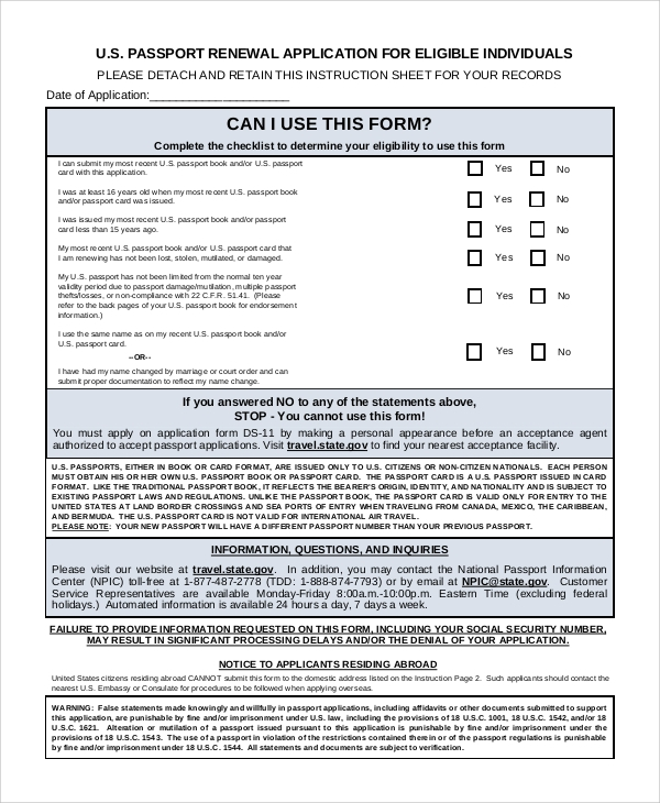 7 Sample Passport Renewal Forms Sample Templates