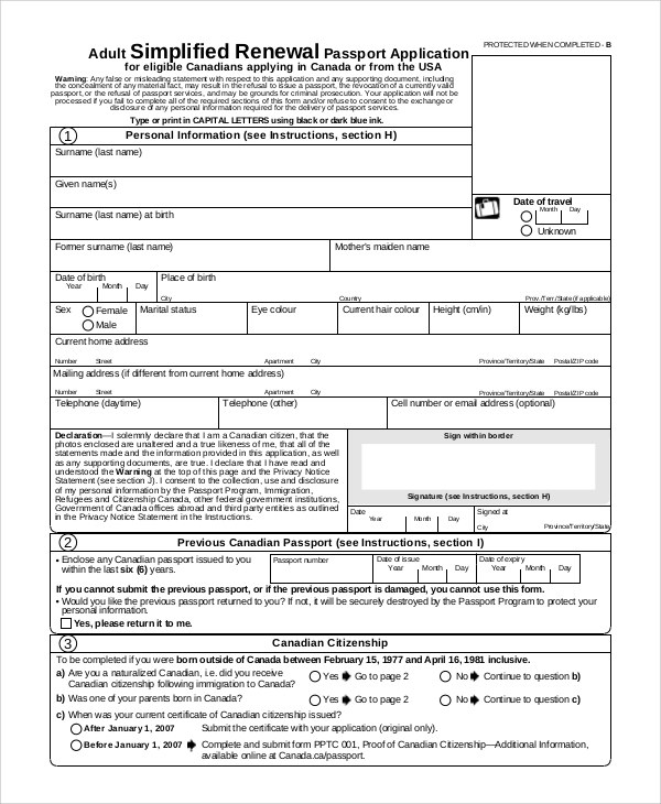 Sample Passport Renewal Form   Examples In Pdf