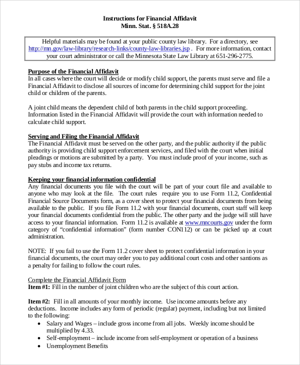 Sample Affidavit of Support 8 Examples in PDF – Printable Affidavit Form