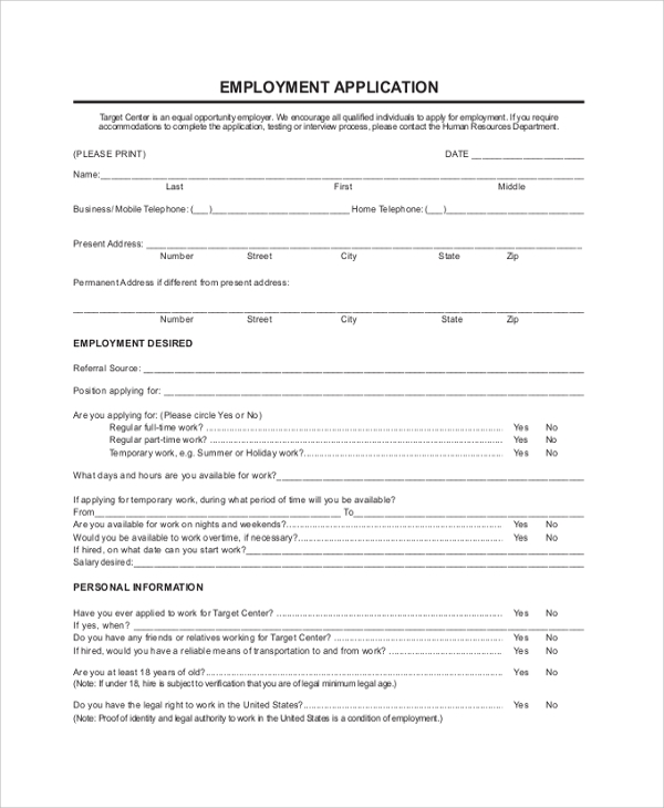 Target Job Application   Examples In Pdf Word